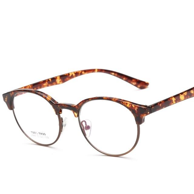 698ea8f059 Retro TR90 Round Glasses Frames Clear Lens Optical Glasses Black Leopard  Light Eyeglasses Vintage Spectacle Frames