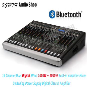 16 Channel Digital Amplifier Mixer with Dual 100 Digital DSP Effects Bluetooth USB +48V Phantom Power Sound Audio Mixing Console