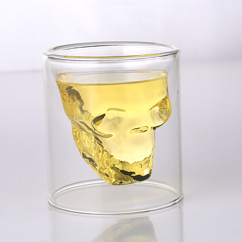 Novelty Cups 25ml-250ml Double Wall Skull Skeleton Whisky Bar wine glasses Glass Cup Crystal Skull Head Vodka Shot Wine Glass 10
