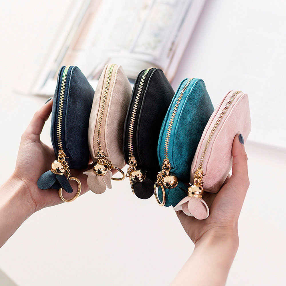 2018 Brand New Fashion Ladies PU Leather Mini Wallet Card Key Holder Zip Coin Purse Floral Pendant Clutch Bag Small Handbag Bag
