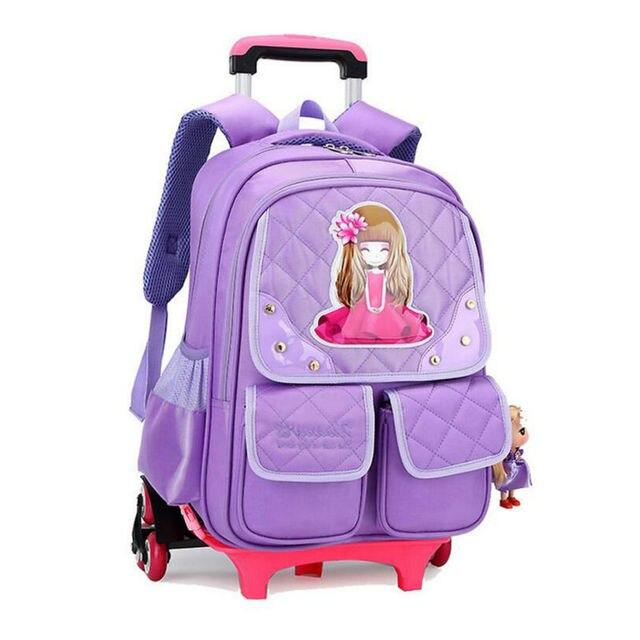 be7db3295 Bolsa de La Escuela carro para Niñas 3 Ruedas Mochila Niños Schoolbag Niños  Mochilas Mochila Bolsa