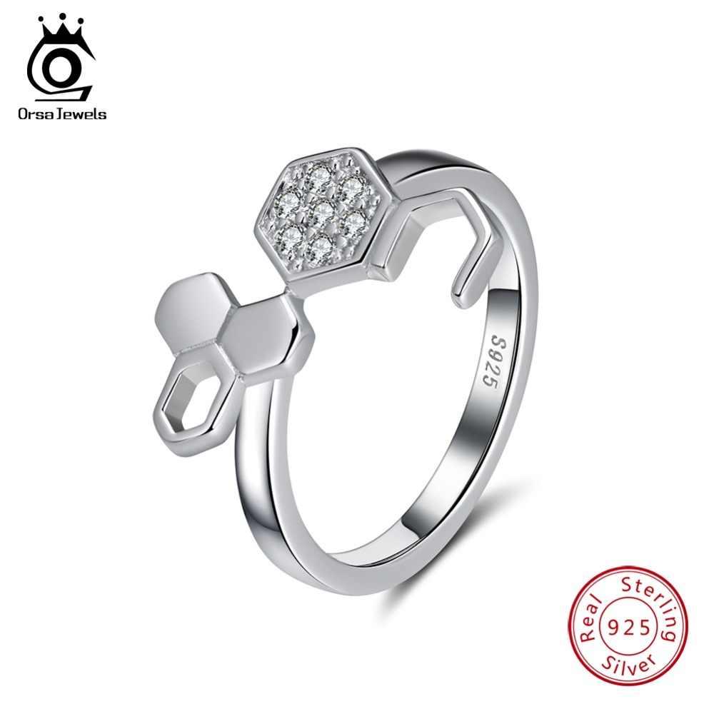 ORSA klejnoty 925 Sterling Silver Rings z łbem sześciokątnym plaster miodu kształt z AAA cyrkon jasny kamień palec pierścionek biżuteria srebrna prezent OSR94