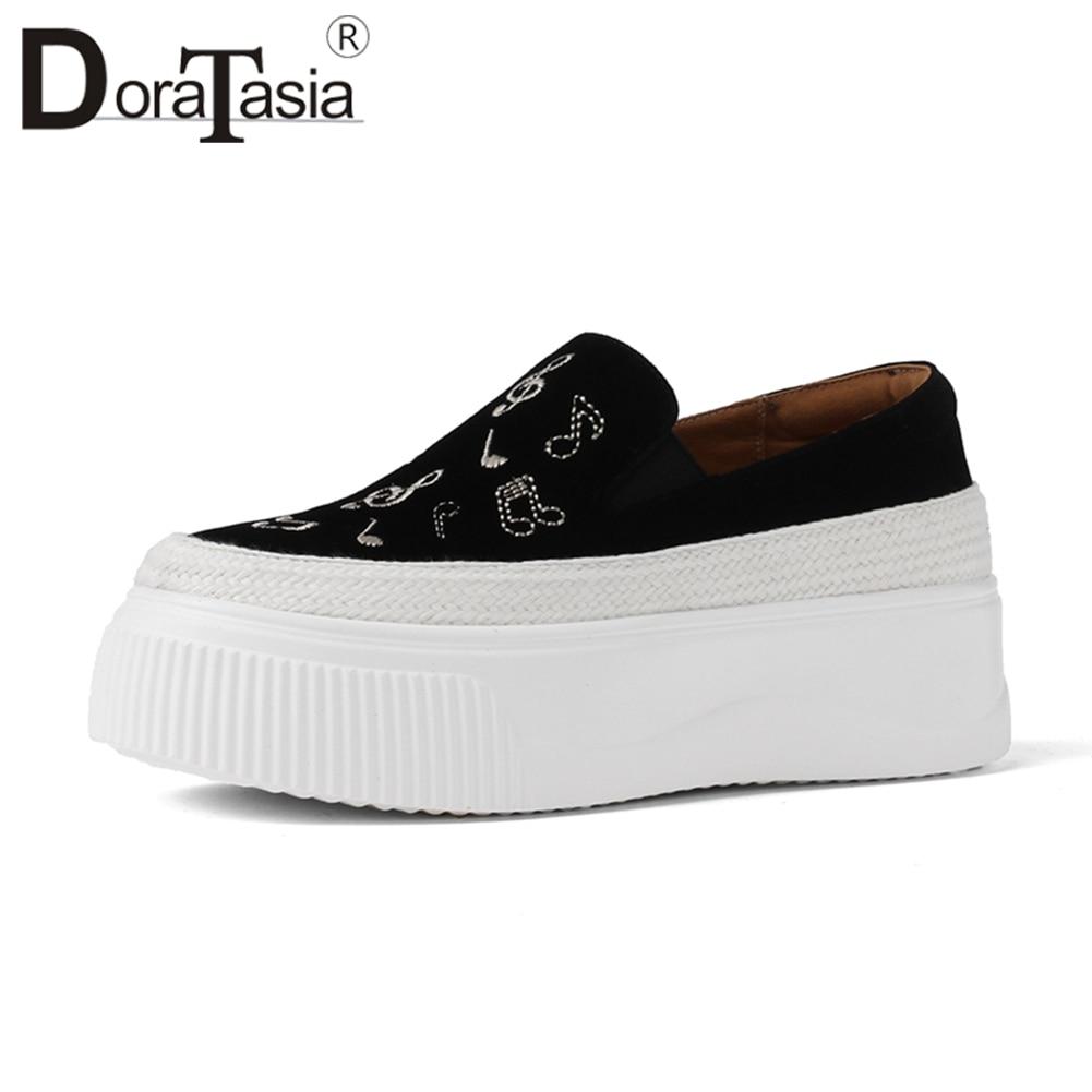 Doratasia 2019 봄 새로운 자연 키즈 스웨이드 여성 참고 로퍼 슬립 온 소녀 플랫 플랫폼 신발 여성 embroider flats 33 42-에서여성용 플랫부터 신발 의  그룹 1