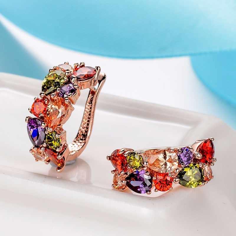 CARSINEL Bunten Schmuck-Sets Cubic Zirkon Hypoallergen Rose Gold farbe Halskette/Ohrringe/Ring Hochzeit Schmuck für Frauen