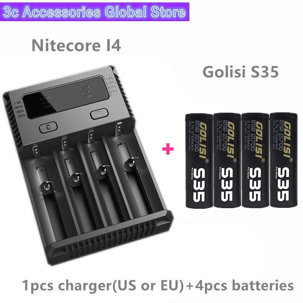 Golisi 4 pièces S35 IMR 21700 3750 mah MAX 40A batterie rechargeable E-CIG pour VAPE avec Nitecore nouveau I4 Digi chargeur LCD Intelligent