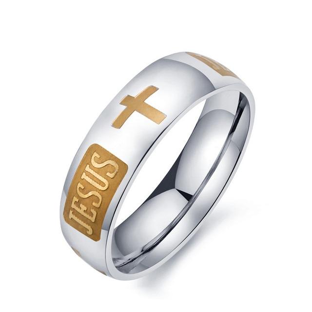 2017 moda 8mm 316L titanio acero plateado cristiano Jesús Cruz letra Biblia  anillo para anillo de 4713c95f6c6