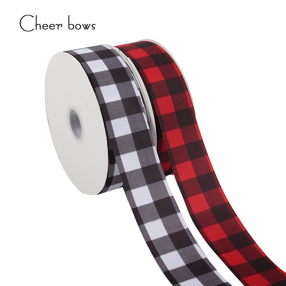 2Y/lot 2''50mm Checker Printing Grosgrain Ribbon DIY Handmade Materials Holiday Decorations Material Home Textile Printed Ribbon