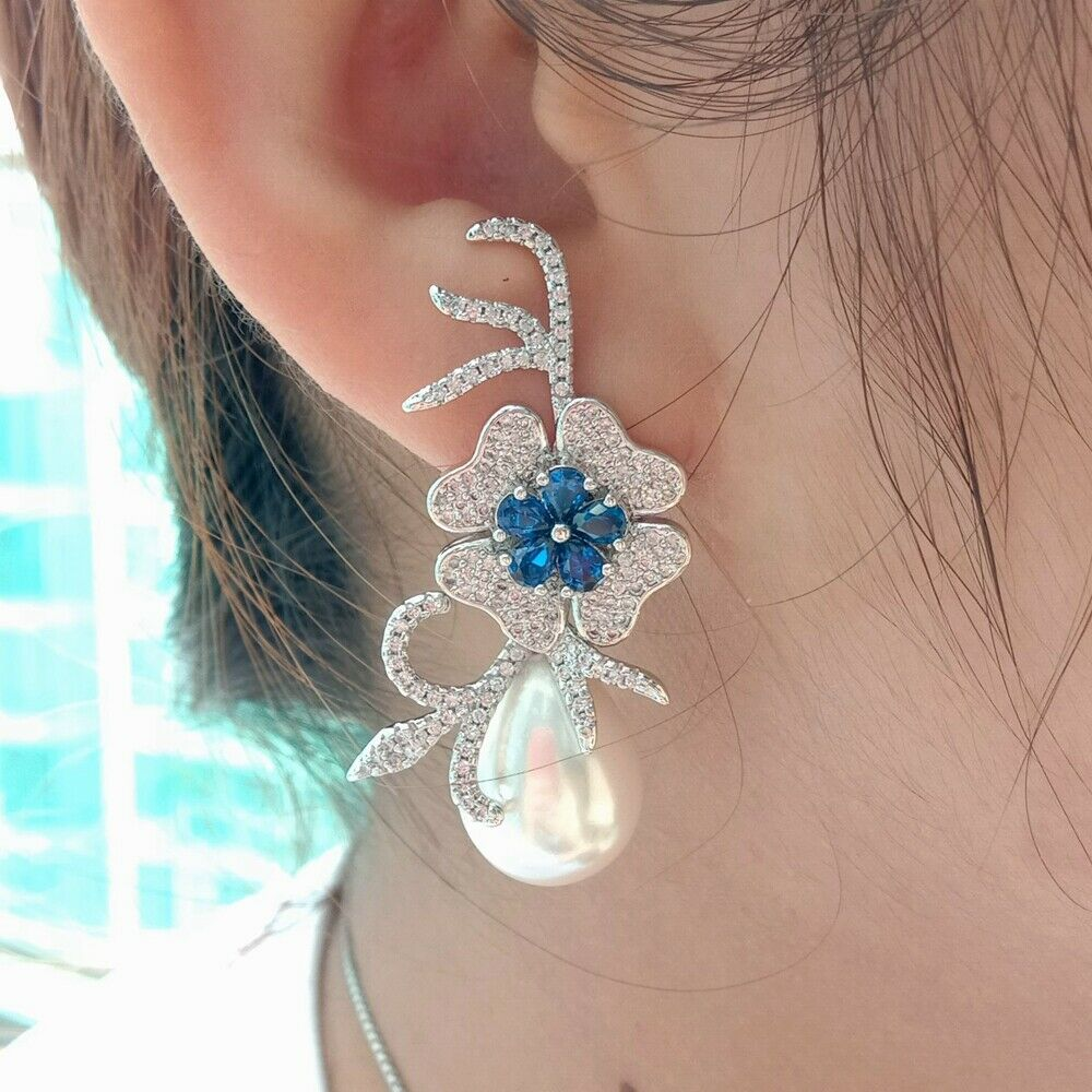Teardrop White Sea Shell Pearl Blue Cz Pave Flower Earrings