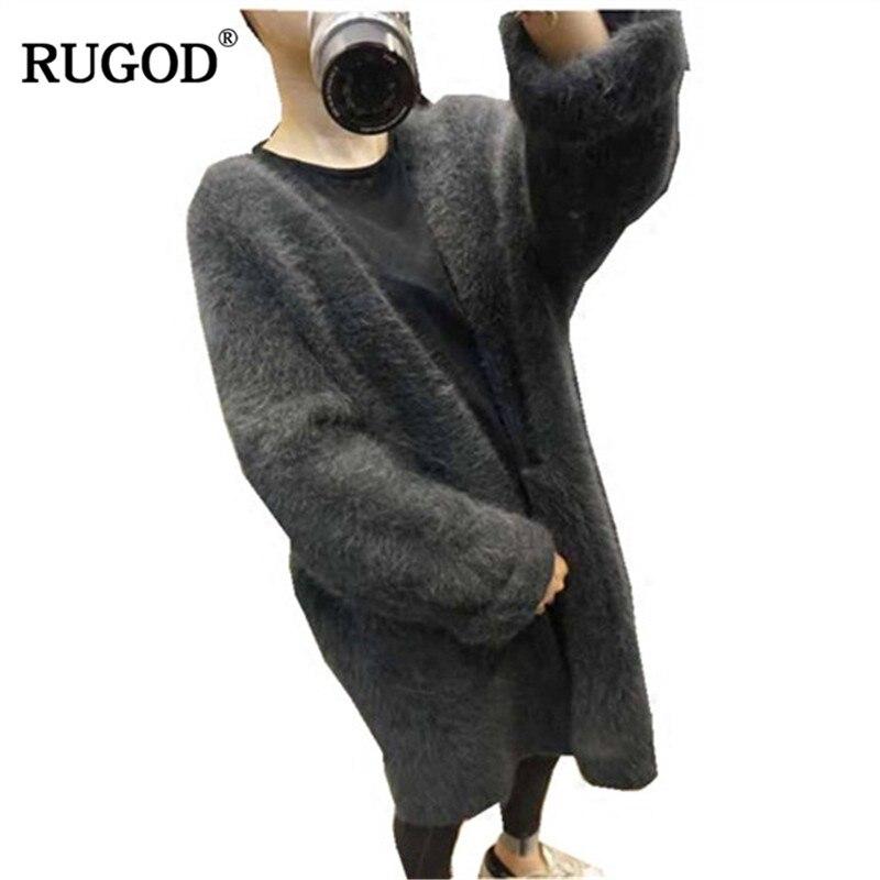 RUGOD nouveau Long manteau en laine décontracté à manches longues tricoté femmes manteau solide épais chaud hiver vêtements manteau femme hiver