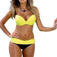QIANQBKN Sexy Bikinis Women Swimsuit 2017 Summer Low Waisted Bathing Suits Halter Top Push Up Bikini Set Plus Size Swimwear