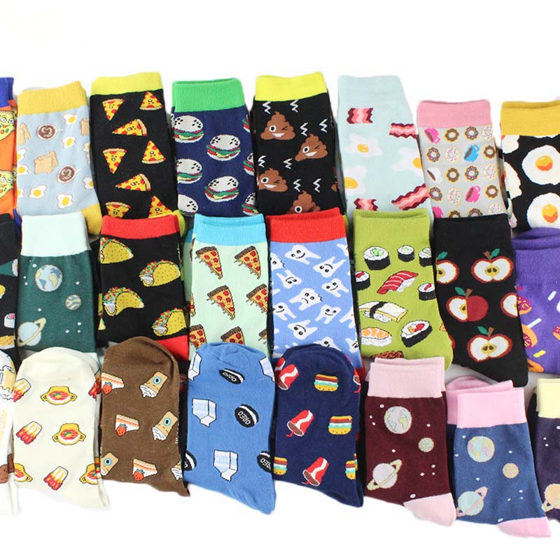 Harajuku Funny   Socks   Food Hamburg/Pizza/Sushi Cute   Socks   Women Divertidos Milk Creative Life Sokken Chaussette Femme