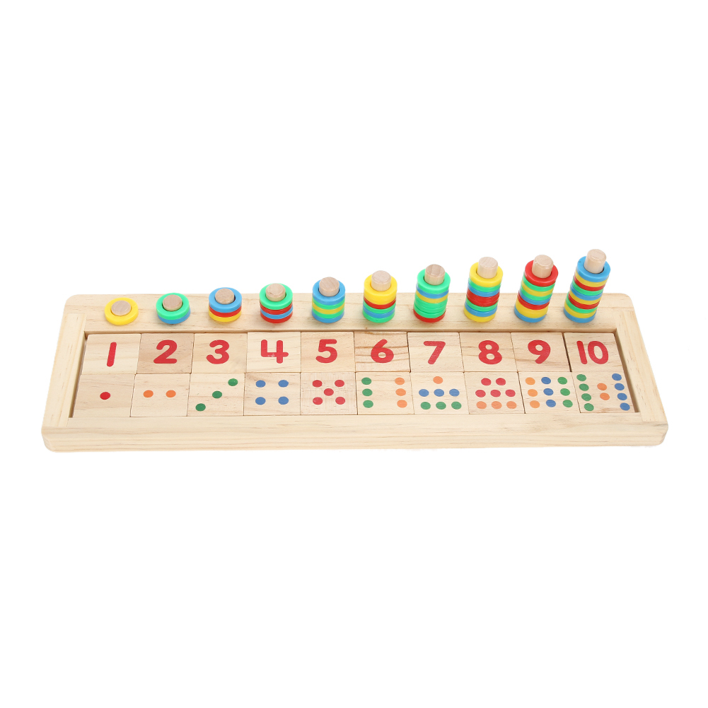 Baby Montessori Educational Wooden Math Toys Teaching Logarithm Version Toy Kids Wooden Building Blocks Toys Gift