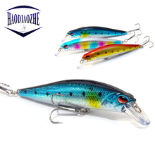 Купить с кэшбэком HAODIAOZHE 11cm 14g Minnow Fishing Lure Hard Bait Depth 0-1.5m Lifelike Wobblers 3D Eyes Crankbait Outdoor Fishing Tackle YU502