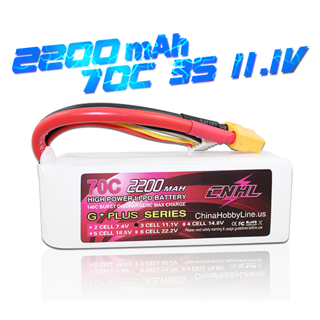 CNHL G+PLUS LI-PO 2200mAh 11.1V 70C(Max 140C) 3S Lipo Battery Pack for RC Hobby with Free Shipping