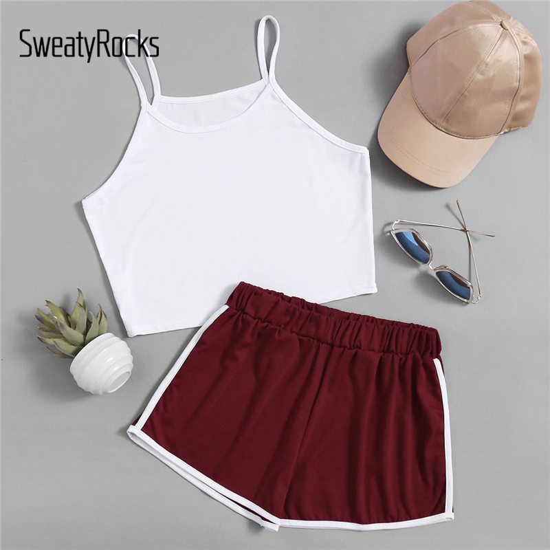 SweatyRocks Estate In Due Pezzi Set Raccolto Cami Top Con Bordo A Contrasto Pantaloncini A Righe Multicolor In Due Pezzi Casaul Tuta Per Le Donne