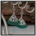 925 pure silver green agate thai silver vintage women's earrings fan