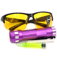 Gzhengtong Auto AC Parts Tool Kit Fluorescent 14 Lamp Flashlight With Fluorescent Glasses Kit Water Corrosion