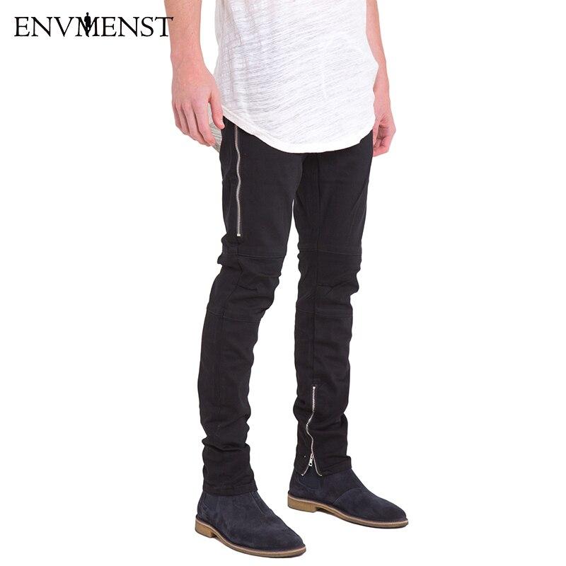 2018 Hot men hip hop black skinny jeans slim raw edge ripped jeans mens side zipper biker denim pants jean