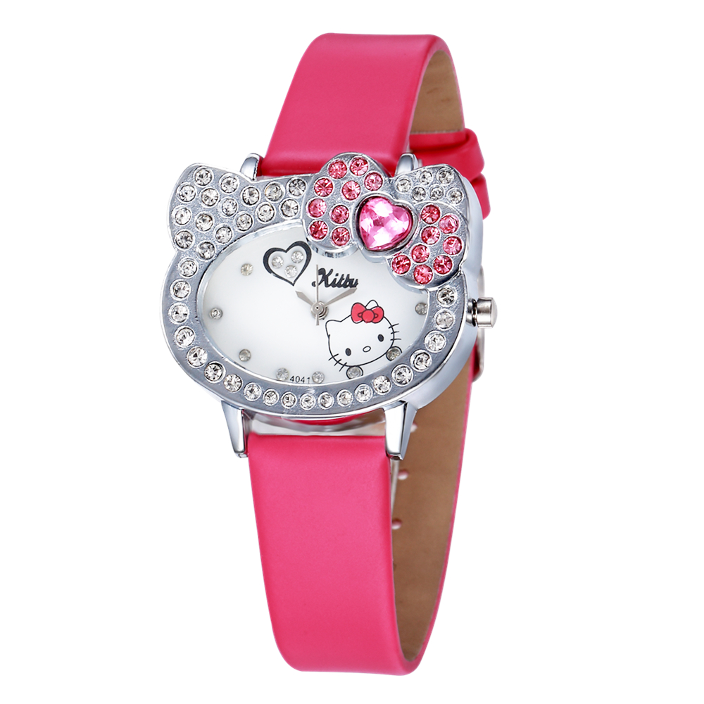 Hello Kitty Watches Women Watches Luxury Rhinestone Children Kids Watch Cartoon Watch Baby Leather Clock Saat Gift Montre Enfant hello kitty led kids watch cartoon watch children s watches for girls jelly silicone clock cute watch baby montre enfant