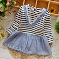 Baby Girl Clothes, New 2016, Girl Striped Long Sleeve Stitching Denim Princess Dress Skirt, Princess Dress, Baby Clothes 0-2Y