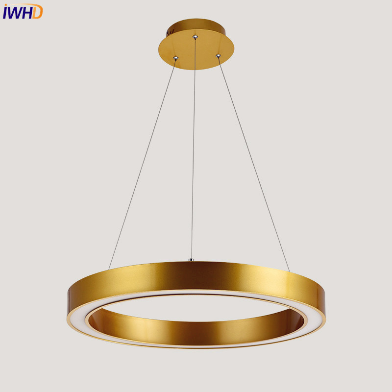 IWHD Nordic Post Modern LED Pendant Light Fixtures Dinning Living Room Round Golden Hanging Lights Hanglamp Home Lighting vitrust modern pendant lamps nordic led glass crystal bubble lighting hanglamp creative dinning living room bar hanging lamp