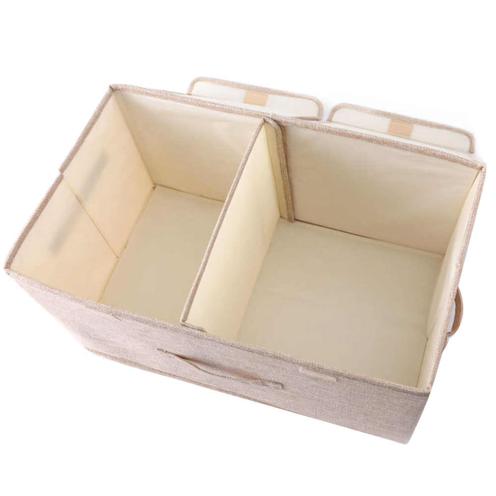 Double Cover Kotak Penyimpanan dengan Tutup Tidak Berbau Kain Poliester Jelas Penyimpanan Keranjang Wadah Tempat Sampah dengan Organizer untuk Mainan Anak