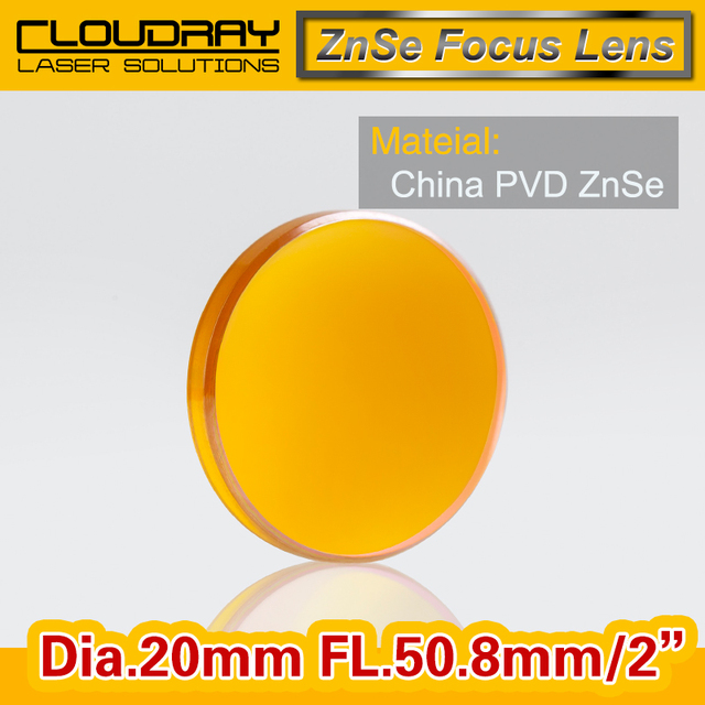 """China ZnSe Focus Lens DIa. 20mm FL 50.8mm 2"""" for CO2 Laser Engraving Cutting Machine Free Shipping"""