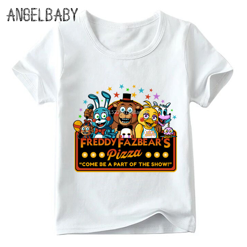 Children Five Nights At Freddy Cartoon Funny T Shirts Summer 5 Freddys Baby Boys/Girls Top O-Neck T Shirt Kids Clothes,ooo2408