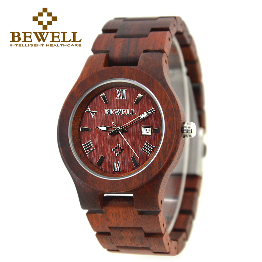 BEWELL Red SandalWood Men Watches Date Display Wooden Watch Japan Quartz Wristwatch For Men Relogio Masculino With Box 127A