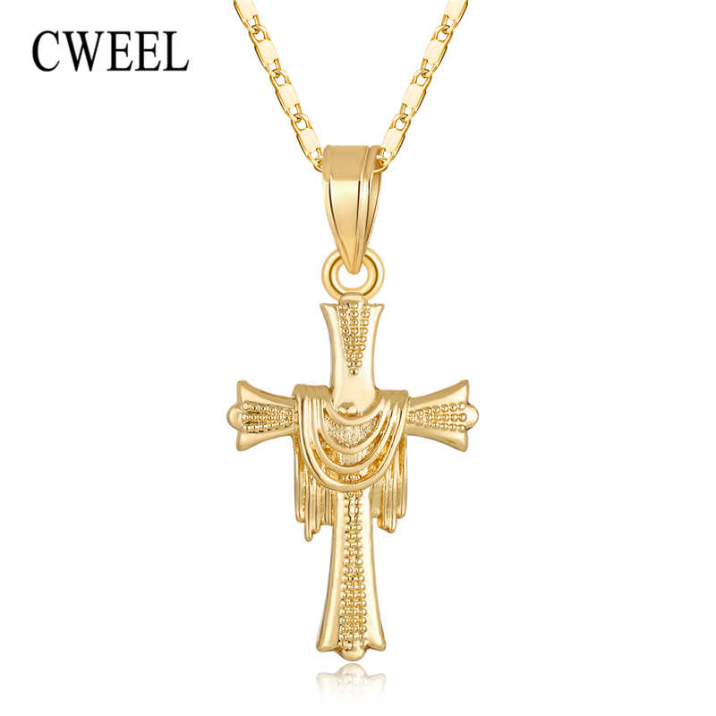 CWEEL Cross Necklace Men Jewelry Gold Color Pendant Necklace Woman Religious Christian Fashion Cheap Statement Necklaces