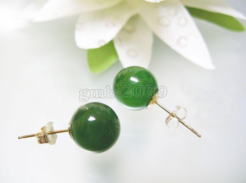 10mm Natürliche Grün Natürliche Jade 18kgp Ohrringe