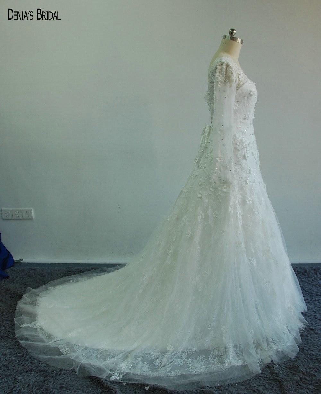 Exquisite Glamorous V Neck Lace Long Sleeve Mermaid Wedding Dresses ...