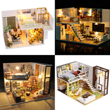 купить Doll House Miniature Dollhouse Loft Model With Furniture Building Kits Wooden Casa DIY House Toys For Children Christmas Gift #E по цене 1353.43 рублей