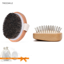 TREESMILE Dry Brushing Body Brush, Exfoliating Back Bath Brush for Shower with 100% Natural Boar Bristle Head D30