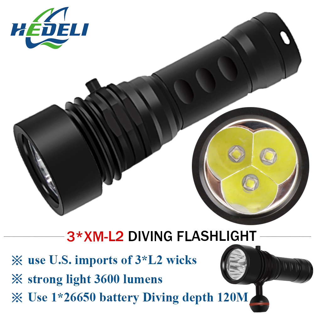 Underwater 5x T6 LED Diving Flashlight Torch Lamp Waterproof 100M 5000 Lumens GN