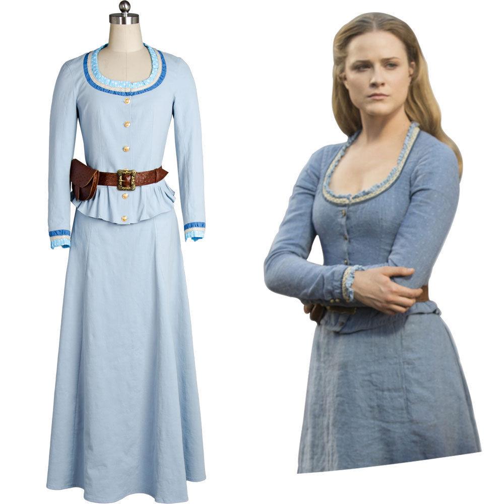 Westworld Cosplay Costume Dolores Abernathy Evan Rachel Wood Blue Dress Gown Halloween Carnival Women full set
