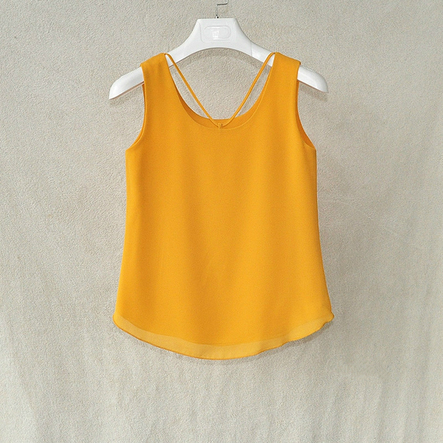 Fashion brand Women Tanks Top summer Sexy shirt Camis plus size sleeveless Blouse Double layer chiffon Blouses 26 colors