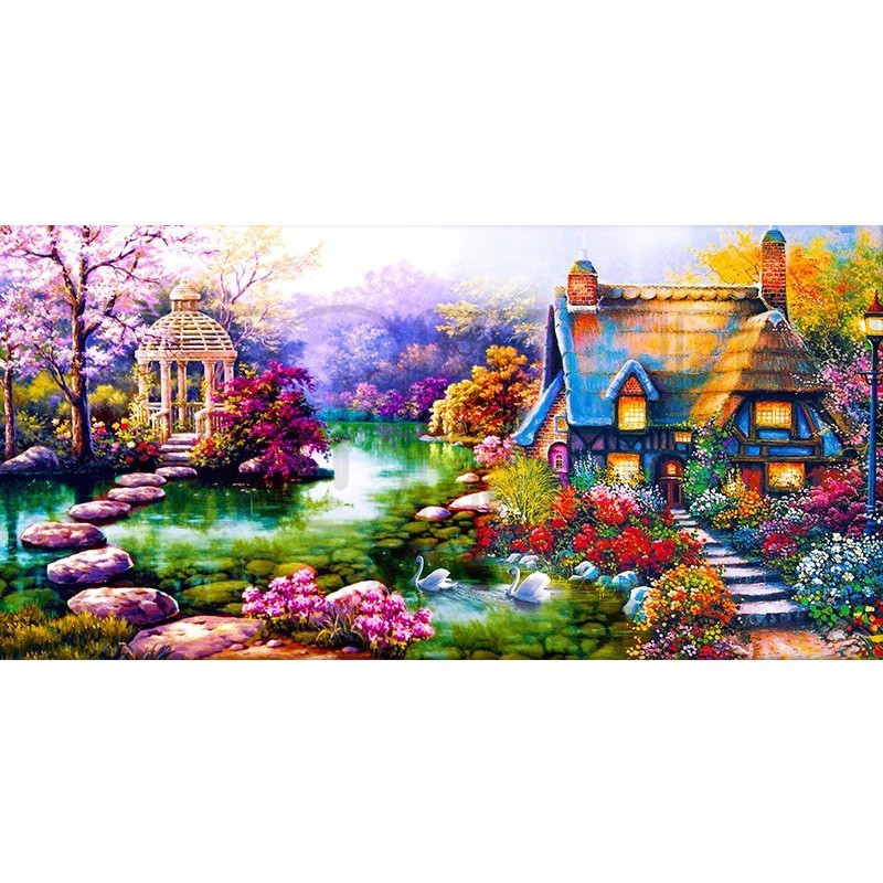 Full Diamond Decorative 5D DIY Diamond Painting Cross Stitch Landscape Garden Cottage Crystal Needlework Diamond Embroidery