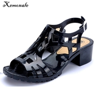 Jelly Sandals Woman Peep Toe Hollow Out New Summer Style Shoes Woman Square Heel Buckle Beach