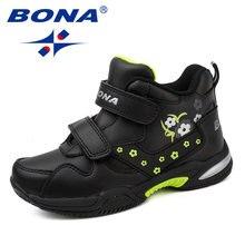 Bona новые стильные детские повседневные ботинки синтетическая