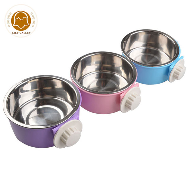 Dog Bowl Stainless Steel Inner Dog Drinking Heat Insulated PP Dog Feeder Cat Bowl Hanging on Cage Separable Fixed Water Bottle