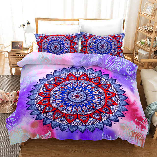 Fanaijia Boho Bed Linen watercolor Mandala Bedding Set Queen Size Bohemian Duvet Cover with Pillowcase Set