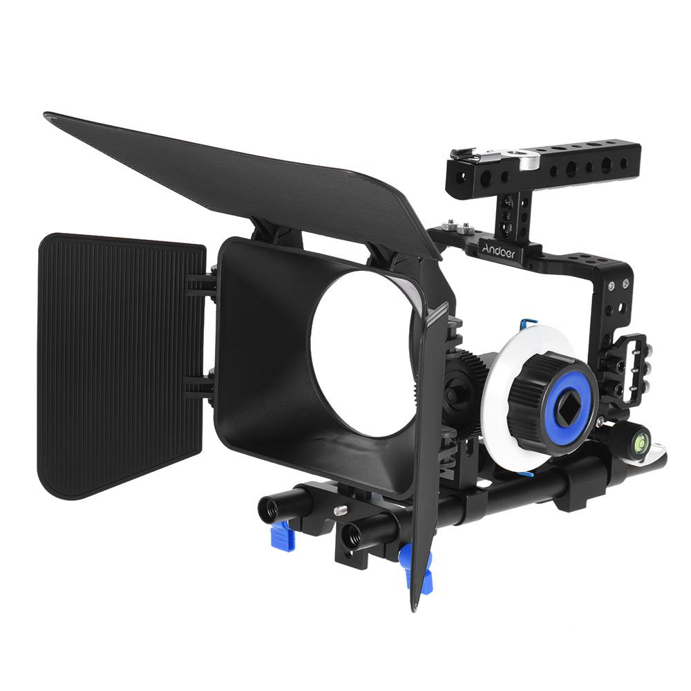 Professional Camera Video Cage Rig Kit Film Making System w/15mm Rod Follow Focus FF Matte Box for Sony A6000 A6300 A6500