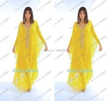 2016 New Yellow Abaya Chiffon Crystal Abaya In Dubai Islam Jalabiya Arabic Islamic Moroccan Kaftan Muslim Evening Dress