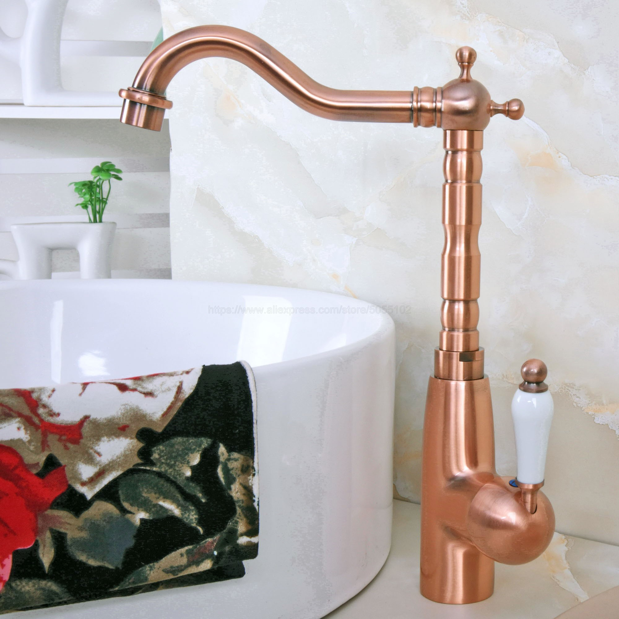 Antique Red Copper Deck Mounted Bathroom Basin Faucet Hot And Cold Bathroom Sink Mixer Taps Znf637