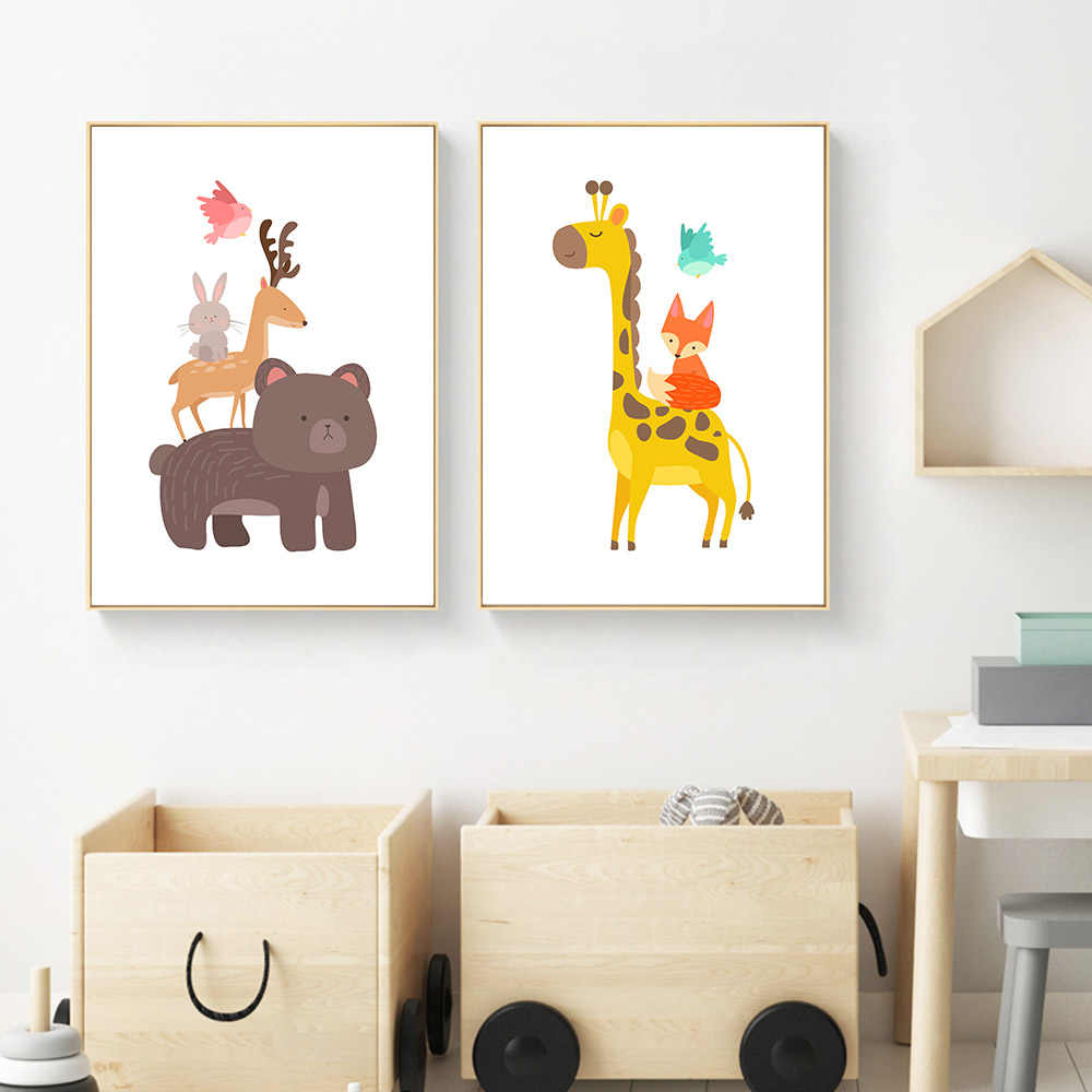 Cartoon Animal Bear Giraffe Canvas Posters Canvas Art Prints Wall Art Painting Decorative Pictures Children Room Decoration