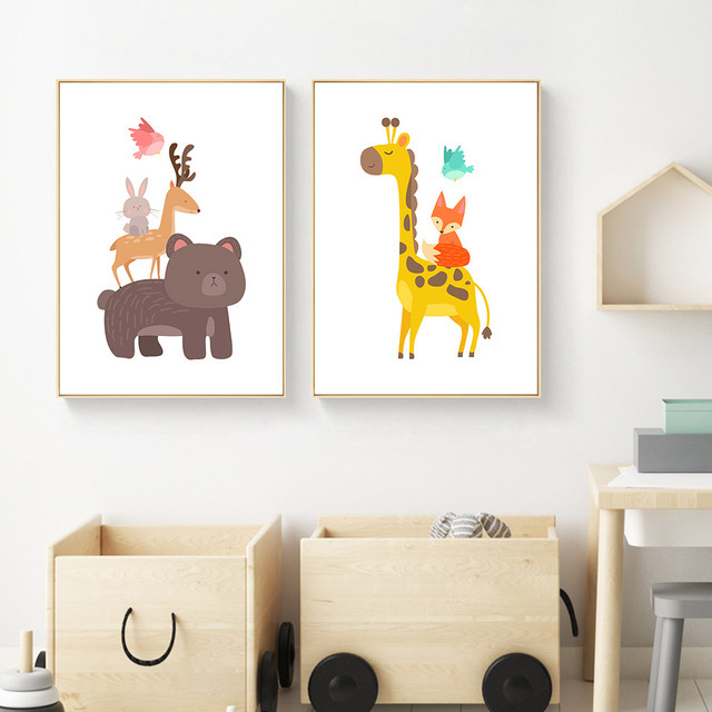 Cartoon Animal Bear Giraffe Canvas Posters Canvas Art Prints Wall Art  Painting Decorative Pictures Children Room