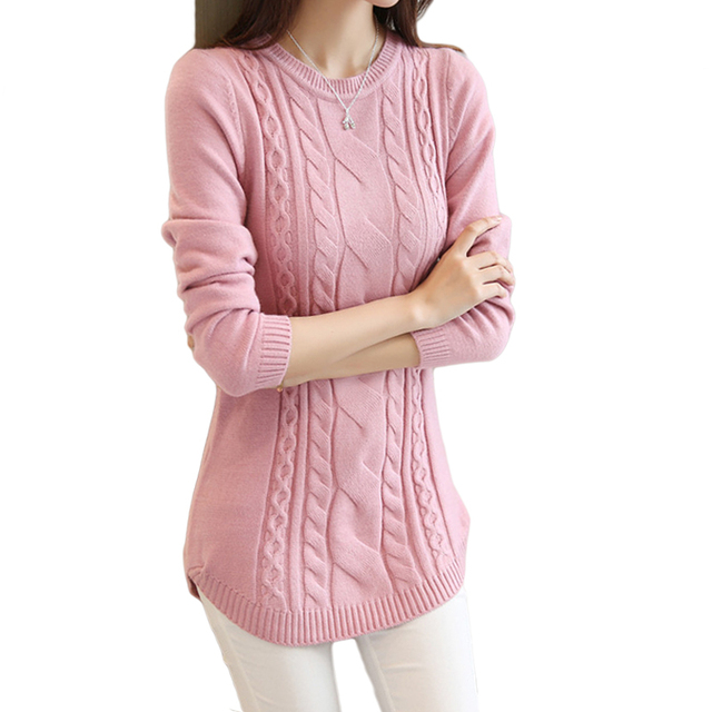 2019 Autumn Winter Women Sweater And Pullover Female Solid Long Sleeve  Twist Knitted Jumper Jersey Tricot Tops Pull Femme D412 bbce138c0