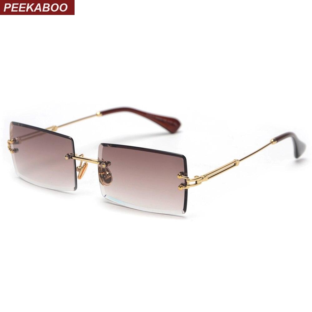 Peekaboo kleine rechteck sonnenbrille frauen randlose quadrat sonne gläser für frauen 2019 sommer stil weibliche uv400 grün braun
