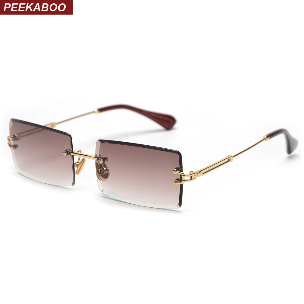 Peekaboo Small Rectangle Sunglasses Women Rimless Square Sun Glasses For Women 2019 Summer Style Female Uv400 Green Brown